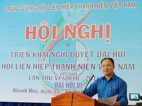Anh Nguyễn Mạnh Cường, Phó Chủ tịch Thường trực Hội LHTN Việt Nam phát biểu khai mạc Hội nghị