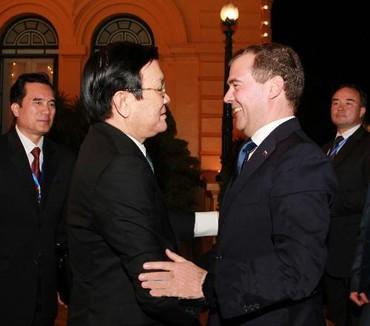 chu20tich20nuoc - Lãnh đạo Đảng, Nhà nước tiếp Thủ tướng Dmitry Medvedev