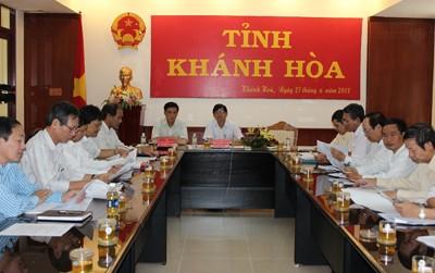 Quang cảnh phiên họp trực tuyến với Chính phủ tại đầu cầu Khánh Hòa.