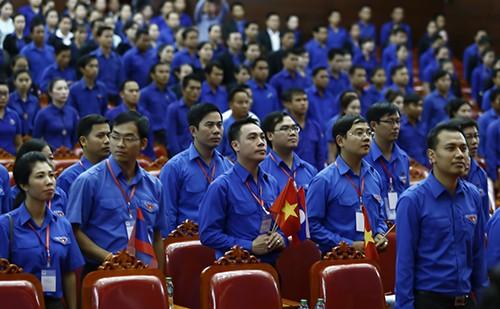 Đại biểu thanh niên Việt Nam tại lễ khai mạc