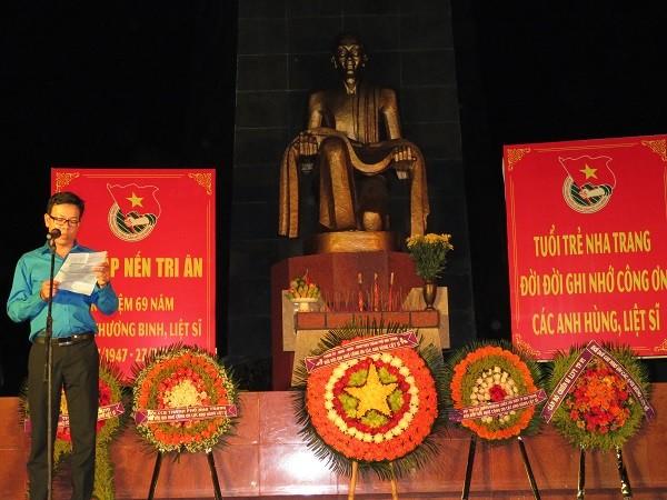 Đồng chí Lê Quang Minh - Bí thư Thành đoàn Nha Trang phát biểu tri ân các anh hùng, liệt sỹ.
