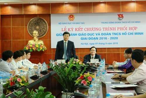 Bí thư thứ nhất Trung ương Đoàn Lê Quốc Phong phát biểu tại Lễ ký kết