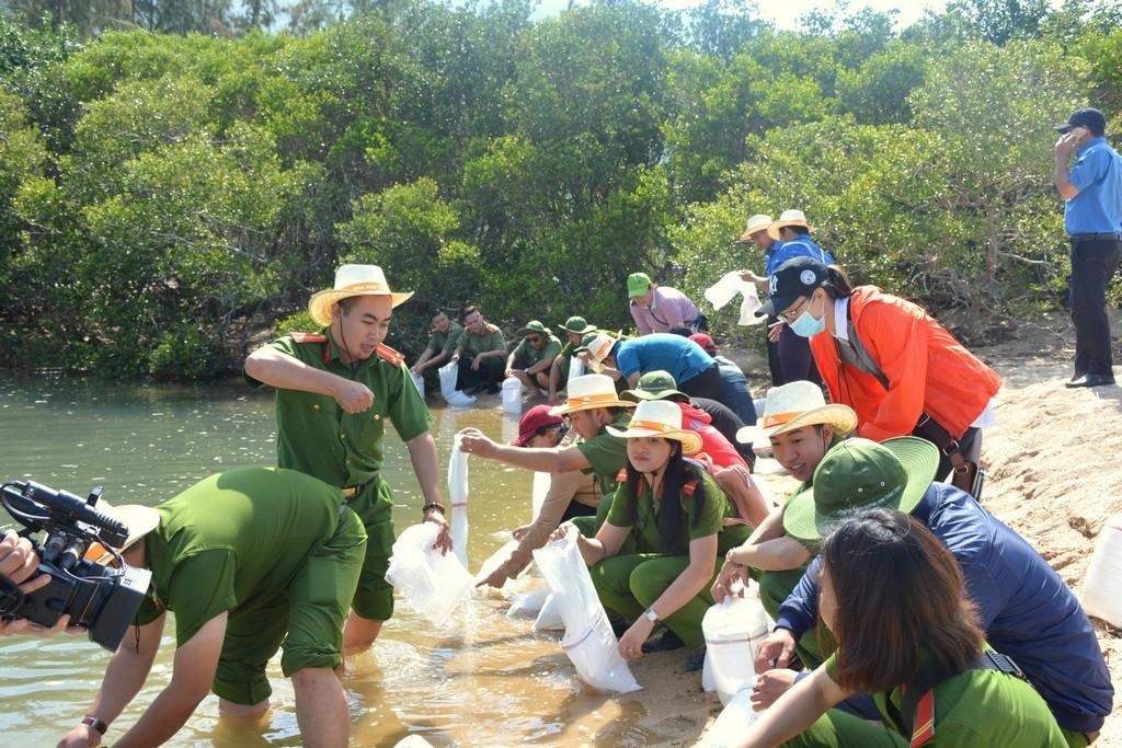 hinh 2 - Thả 4000 con cá giống tại rừng ngập mặn đầm Nha Phu