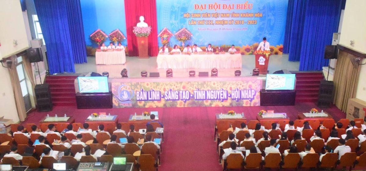 dai hoi sinh vien lan iii 1 - 100% Đại biểu chính thức tham dự Phiên thứ nhất Đại hội Đại biểu Hội Sinh viên Việt Nam tỉnh Khánh Hòa lần thứ III, nhiệm kỳ 2018 - 2023.