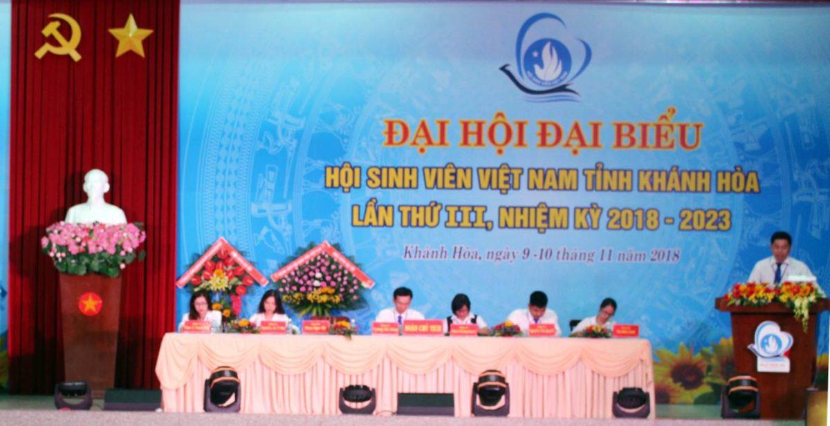 dai hoi sinh vien lan iii 3 - 100% Đại biểu chính thức tham dự Phiên thứ nhất Đại hội Đại biểu Hội Sinh viên Việt Nam tỉnh Khánh Hòa lần thứ III, nhiệm kỳ 2018 - 2023.