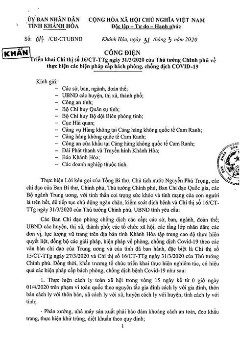 Công điện khẩn của Chủ tịch UBND tỉnh Khánh Hòa