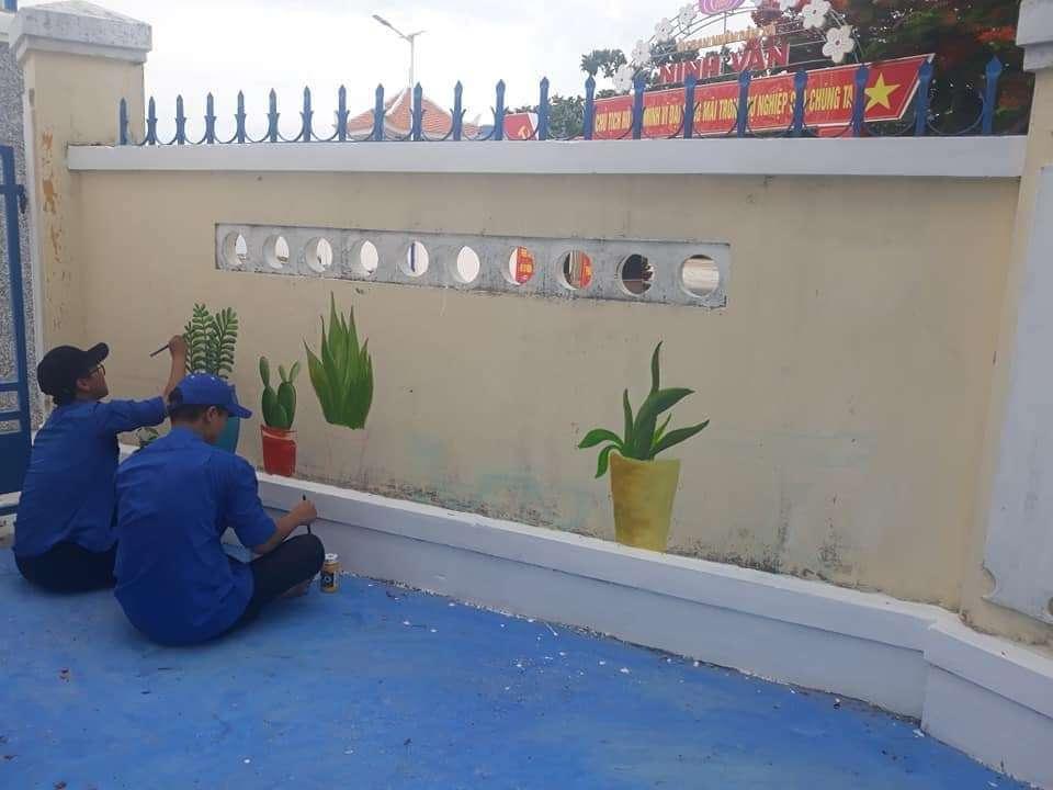 Vẽ tường bích họa tường tại trường Tiểu học Ninh Vân